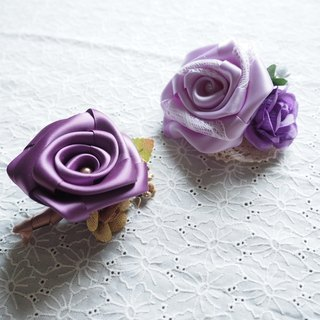 Handmade Purple rose Wedding corsage