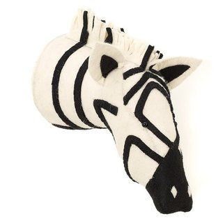 [Fiona Walker England] British style fairy tale animal head handmade Mural - black and white zebra (Zebra Head)
