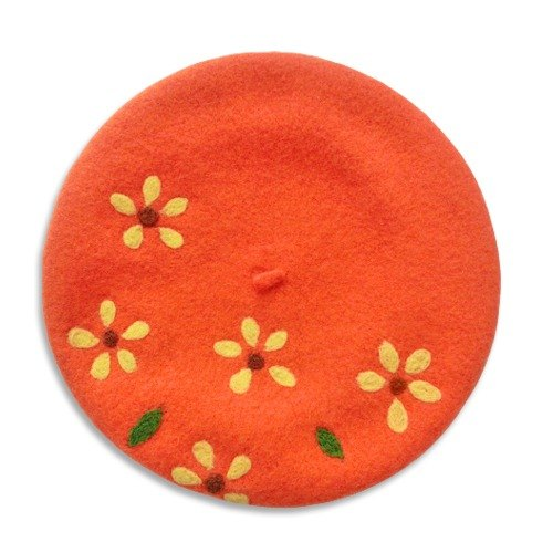 Handmade wool felt hat orange beret painter petals paragraph