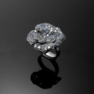 Handmade / flower shape diamond live Wai / 925 Silver