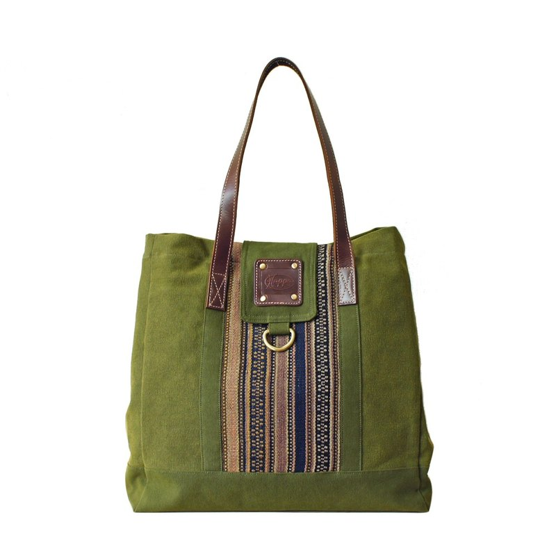 [Happa] personality Cikou tote bag - Hand knotted kilim paragraph (Olive olive green) housing the most convenient generous package