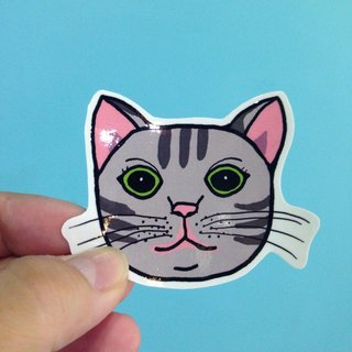 571 / gray kitty meow Sticker