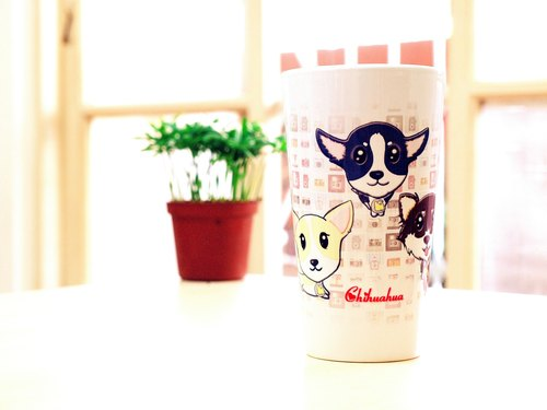 """NONCOOL‧ Cool farming"" new elegance * Chihuahua ‧ ‧ latte cup / oblique cup (400ml)"