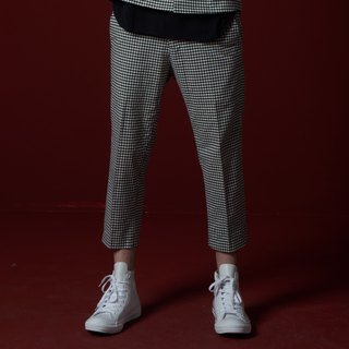 Stone'As Jacquard Pleat Pants / pleated trousers nine points plaid checkered black and white