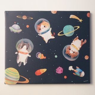 Frameless painting - floating space cat