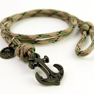 [METALIZE]Anchor with rope bracel Three-circle umbrella rope bracelet - Sea anchor section - Green camouflage (Black)