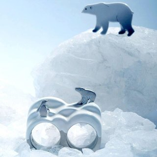Polar Bear and Penguin Ring, Double Finger Ring, Two Finger Ring