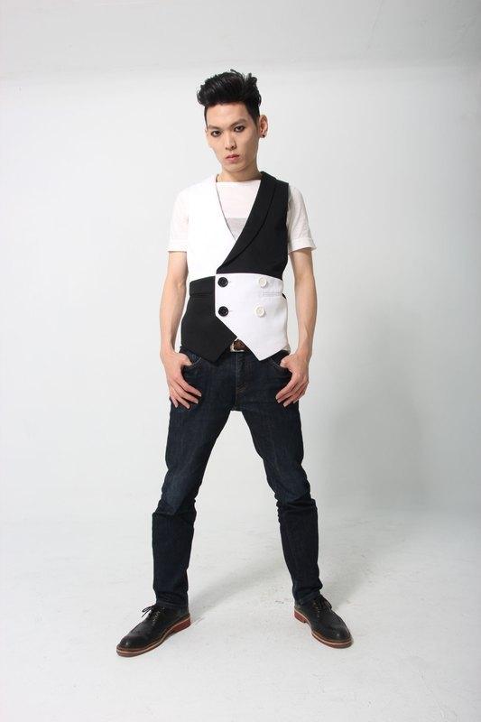 Sevenfold 圓弧領黑白色塊背心 Circular Arc Collar Black&White Vest