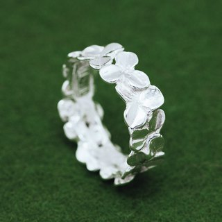 Four leaf clover ring - Silver three and four leaf clovers - Japanese design