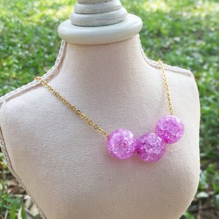 """LaPerle"" Ice purple beads popcorn necklace 16k gold-plated brass bead necklace Handmade Christmas gifts"