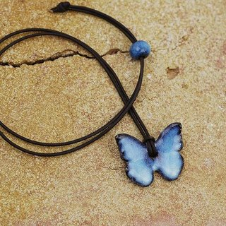 Morpho / necklace [pottery leather strap]