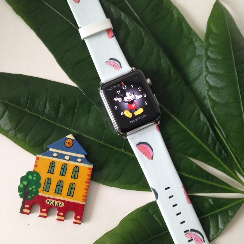 Apple Watch Series 1 - 5 藍色西瓜真皮錶帶 38 40 42 44 mm32