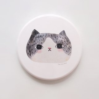 Small round mirror - Lala (black and white cat)