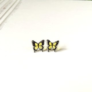 *Haku‧Neko* Hand-painted Yellow swallowtail butterfly earrings