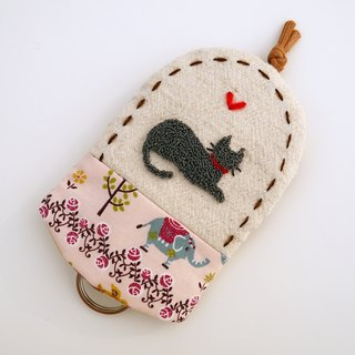 Blue Cat embroidery Wallets