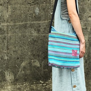 【Grooving the beats】Handmade Hand Woven Cross Body Bag / Shoulder Bag (Blue)