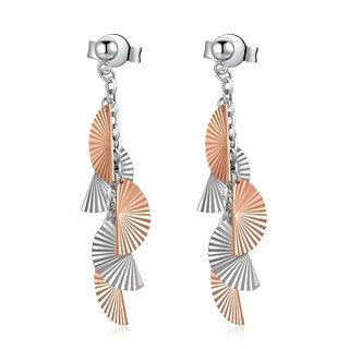 Hong Kong Design 14K / 585 Red White Gold net gold fan hanging earrings