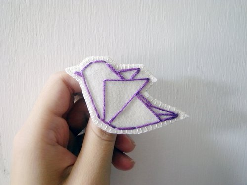 ORIGAMI Origami Embroidery Forest Series - purple bird pin
