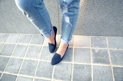 WL tannins low-heeled (Classic Blue) Denim Heeled Loafers