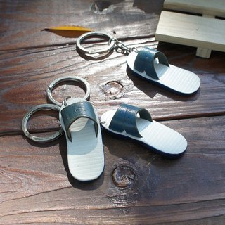 Good day} leather key ring blue slippers _