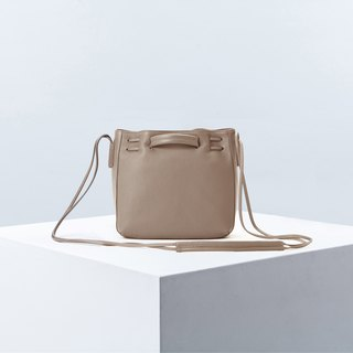 Clyde Cloud XS Leather Bucket Bag in Mushroom Color