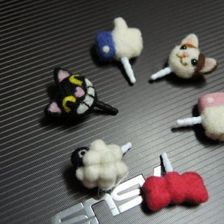 [Sheep wool felt music and more X] calico cat Like black sheep cell phone headset plug dust cover