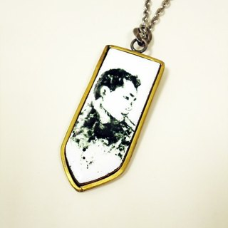 My Hero & amp; My Cutie personalized portrait enamel necklace custom men's Valentine's Day gift