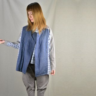 Scarecrow jacket _ denim blue, checkered blue, light gray _ fair trade