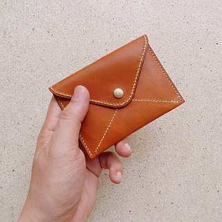 Coffee brown envelopes lychee leather leather two cards short clip