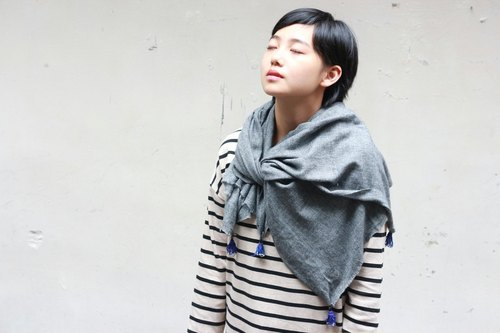 OMAKE cashmere shawl (light gray)