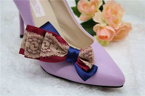 Simple blue Pinjiu red lace bow lovely princess shoes decorated wedding shoes heels jewelry temperament bride