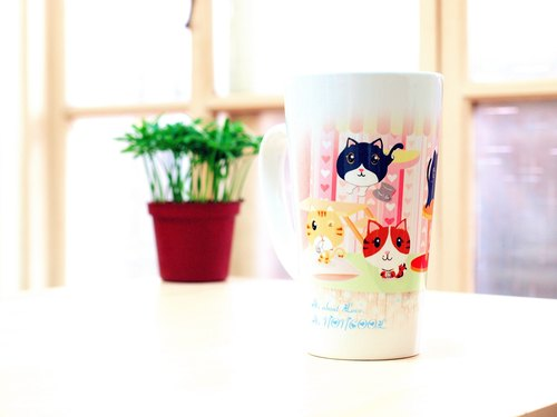 """NONCOOL‧ Cool farming"" new elegance * sweet cat ‧ ‧ latte cup / oblique cup (400ml)"