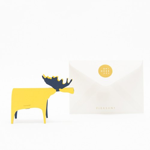 Deer Card Paper -Yellow & Navy -TAKEO NT RASHA greeting card, deer sculpture
