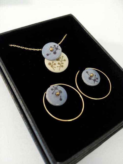 kedo porcelain flower jewelry series branches two-piece set of light blue color necklace earrings section