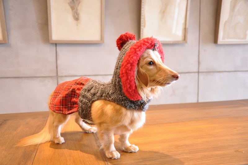 Red lattice sweater dress harness clothes