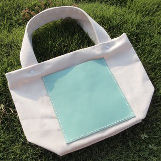Handmade canvas bag square shape handbag Tote bag Macaron green leather