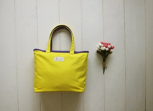 Macaron series - Lyme medium yellow + purple sails Bu Tuote bag (zipper opening paragraph)