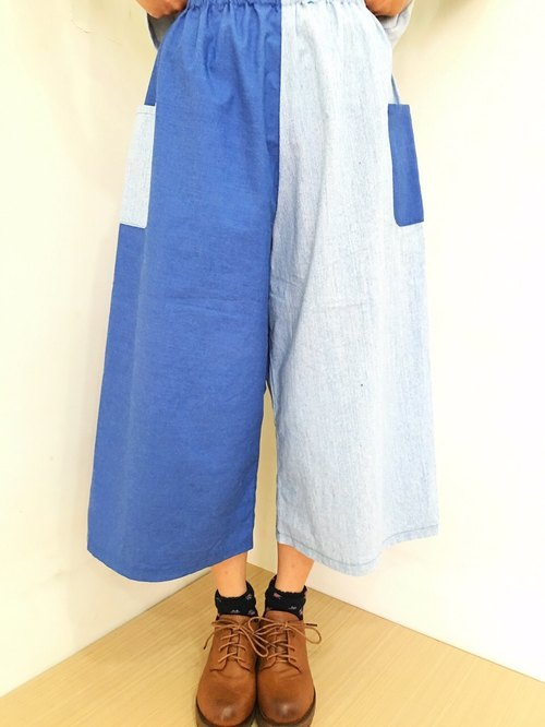 USELF original design - the building blocks wide color stitching trousers - light blue blocks splicing