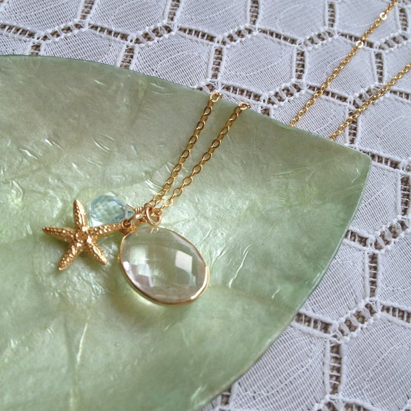White Crystal Starfish Necklace | CWHJ