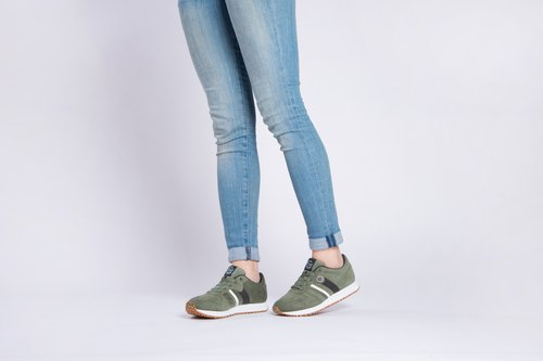 RETRO RUNNING SHOES GARDEN GREEN ULTRASUEDE Eco-friendly shoes for WOMEN---Comfo