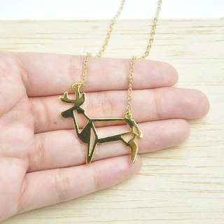 Origami Deer Necklace, Deer jewelry, Animal jewelry, Deer gift, christmas gift