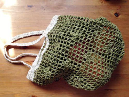 Grocery wind mesh bag (mustard green * beige)