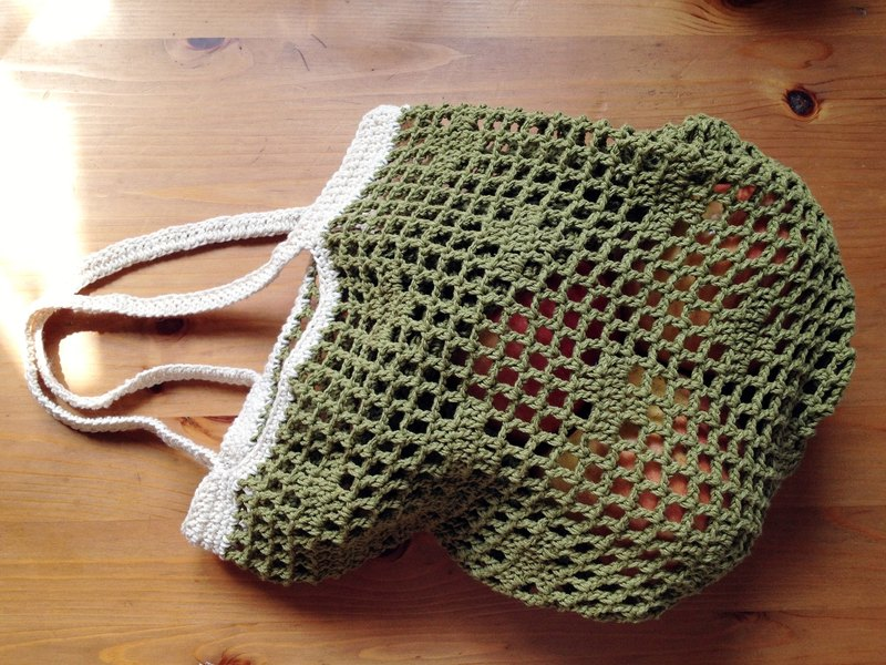 Grocery wind mesh bag mustard green and white
