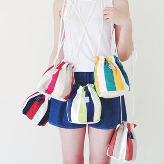 :::Bangstree:: Shoulder Bucket Bag -Yellow+White+DarkCyan