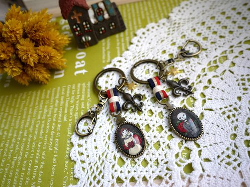 Paris. Happy hand made. ZAKKA. Love you life and death. Both pairs of key ring