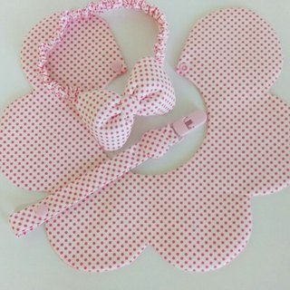 Pink little gift birthday gift births flower bibs + pacifier clip + Headdress