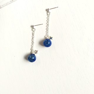 *Haku‧Neko*Deep Blue Stardust - Little Star Flashing blue glass ball long earrings