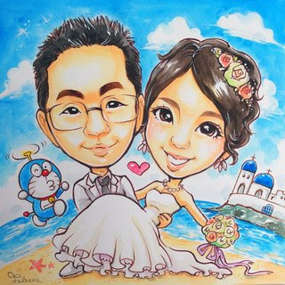 Like Yan painted _ watercolor hand-painted cartoon portrait _ double body modeling / wedding modeling (including photo frame)