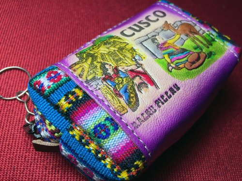 Peru fabric hand-dyed leather stitching perspective purse - Purple