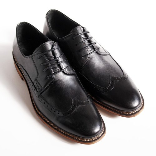 [LMdH] B1A16-99 calfskin hand-painted carved wood grain with wing Derby Shoes - black - Free Shipping